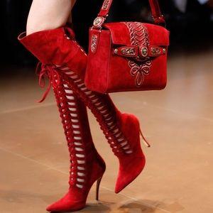 Versace red over knee boots